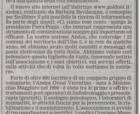 1 agosto 2004: Pubblicazione nuovo sito ANDOS OVEST VICENTINO