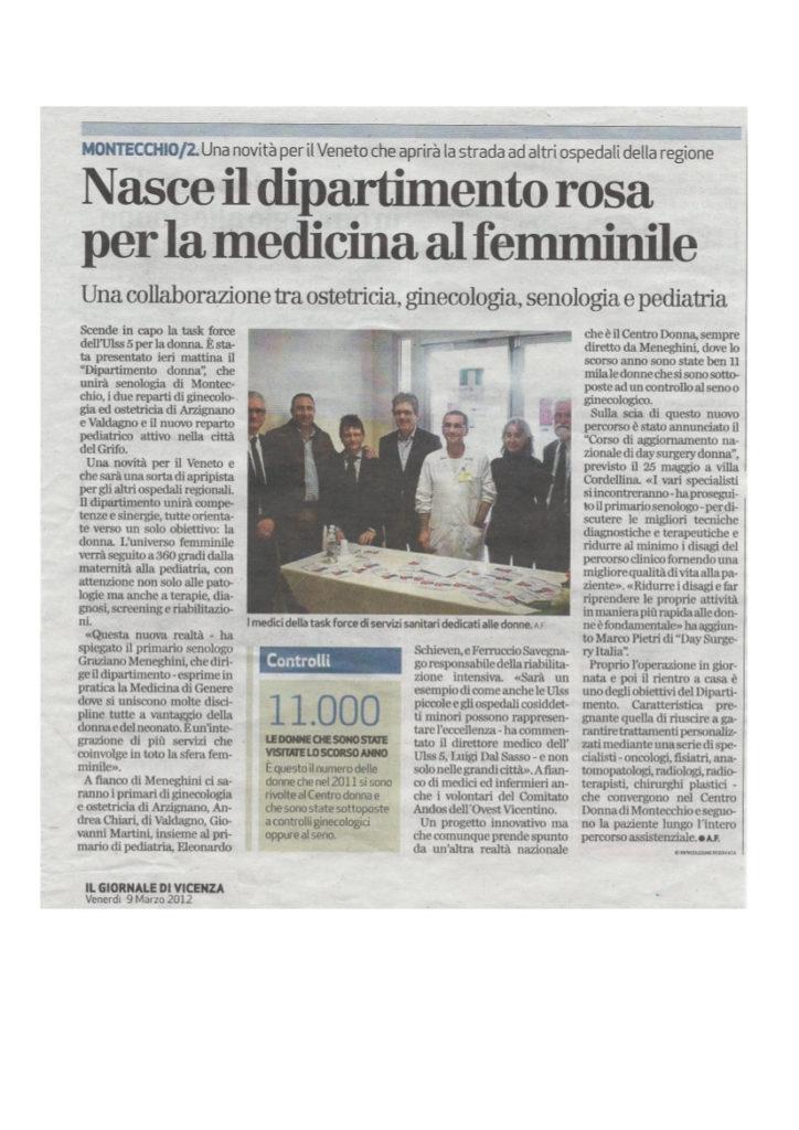 articolo Giornale di Vicenza 09-03-2012