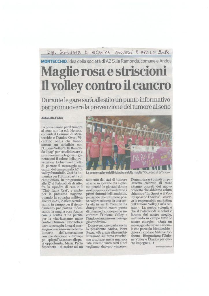 articolo GdV volley contro il cancro