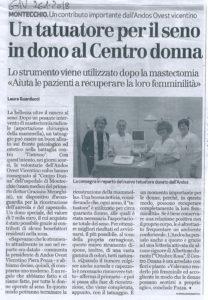 articolo Giornale di Vicenza 26 gennaio 2018